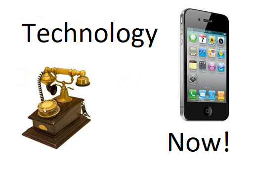 "A solid white background in the shape of a square. The words, ""Technology Now!"" are separated into the top left and bottom right quadrants.  Two pictures of phones from different time periods are separated into the bottom left and top right quadrants.  The bottom left quadrant is a picture of an antique rotary phone.  The picture on the top right is an iphone."